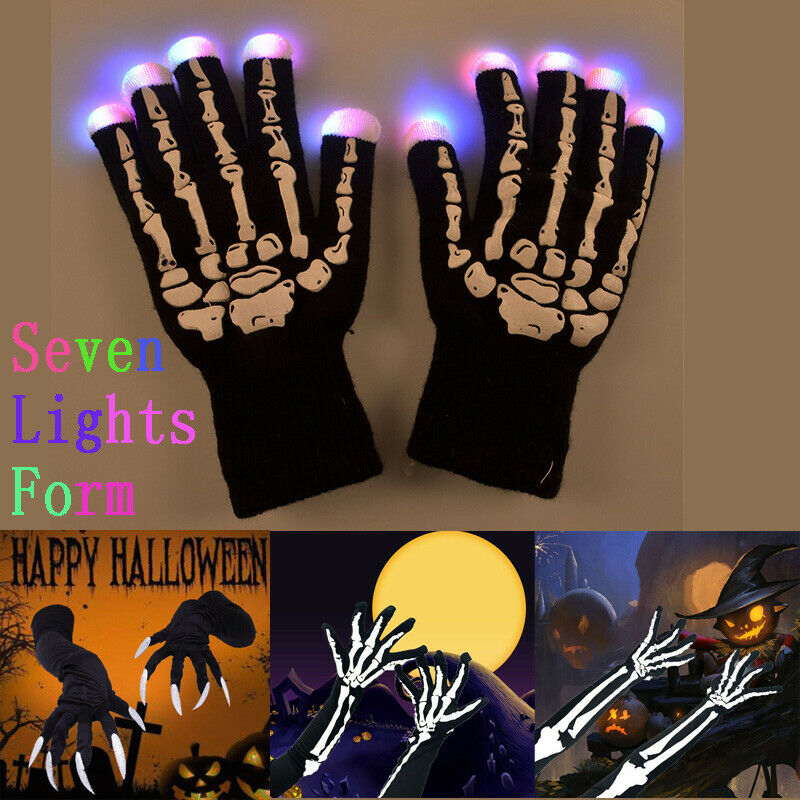 LED Light Men Women Full Finger White Skeleton Gloves Halloween Cosplay Elbow Length Ghost Bone Gloves Mittens Accessories