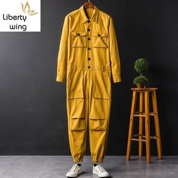 Hip Hop Unisex Costumes Casual Cargo Jumpsuits Long Sleeve Single Breasted Top Full Length Pants Male Loose Overalls Plus Size tanie i dobre opinie Cargo pants Pełnej długości Mieszkanie Luźne Poliester COTTON Midweight Suknem Kieszenie W stylu Safari Zipper fly