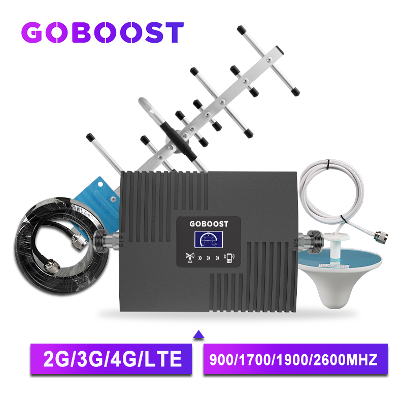 GOBOOST Cellular Amplifier 4g Signal Booster GSM 900 2g 3g 4g Repeater LTE AWS 1700 2100 Mhz Repeater 2600 Mobile Phone Booster