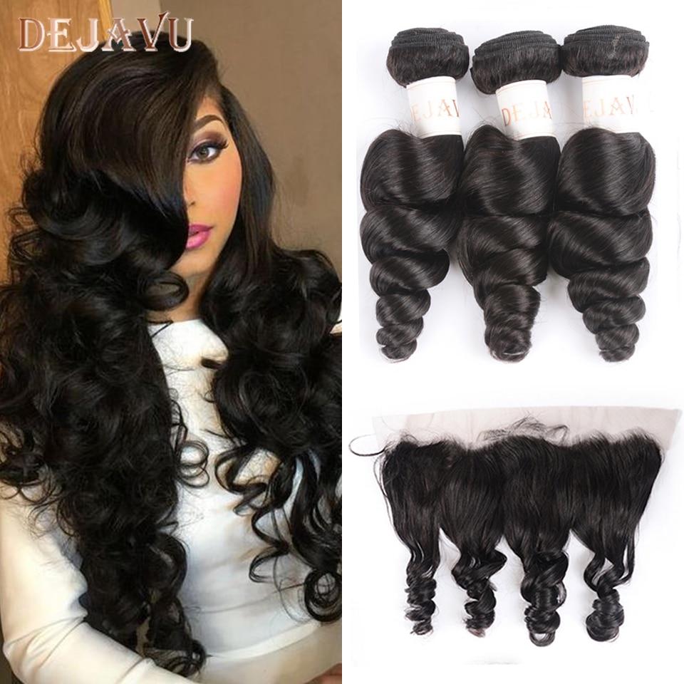 Dejavu Brazilian Hair Weave Bundles With Frontal Closure 13*4 Inch Human Hair 3 Bundle Deals Loose Wave Non-Remy Hair