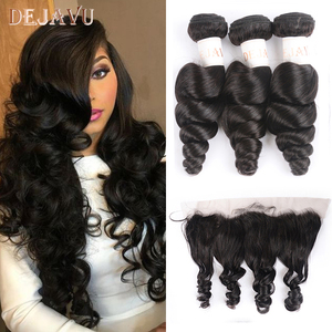 Dejavu Brazilian Hair Weave Bundles With Frontal Closure 13*4 Inch Human Hair 3 Bundle Deals Loose Wave Non-Remy hair(China)