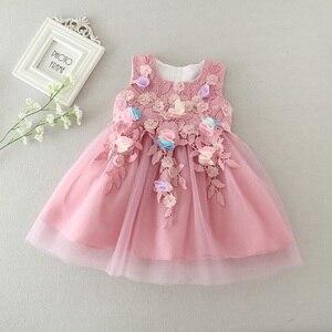 Платье для новорожденных девочек; свадебное платье для крещения для маленьких девочек; Vestido; розовое кружевное платье принцессы на весну-ле...