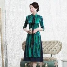 2019 satış 7 dakika kollu genç kadın moda günlük geliştirme antik yollar geri yüksek dereceli cheongsam elbise
