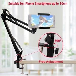 Image 2 - Мобильный телефон с длинной ручкой, подставка для iPhone 11, Xiaomi, Huawei, Настольная кровать, держатель для сотового телефона, металлический зажим