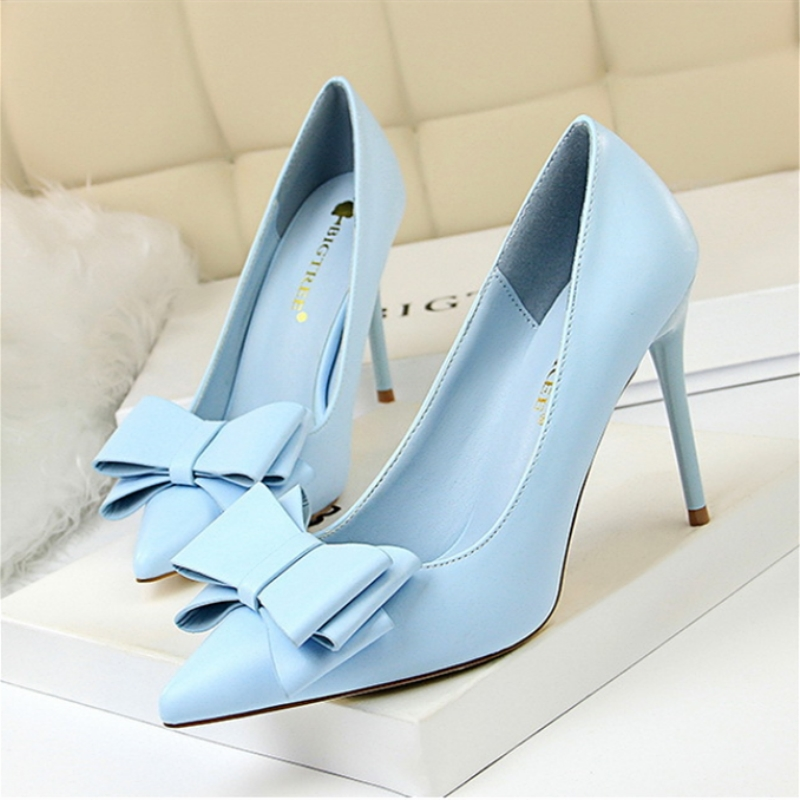 Autumn Heel Shoes Women Sweet Bow High Heeled Shoes Woman Thin Heels Size 42 43 Matte Point Pink Blue Pumps Elegant Female Shoes