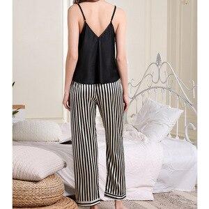 Image 2 - Pijama con borde de encaje para mujer, Sexy, con escote en V profundo, conjunto de pantalón largo con tirantes finos