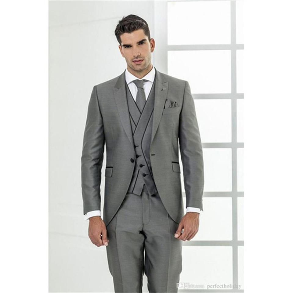 New Classic Men's Suit Smolking Noivo Terno Slim Fit Easculino Evening Suits For Men Grey Tuxedo Costume Homme Groom Prom Blazer