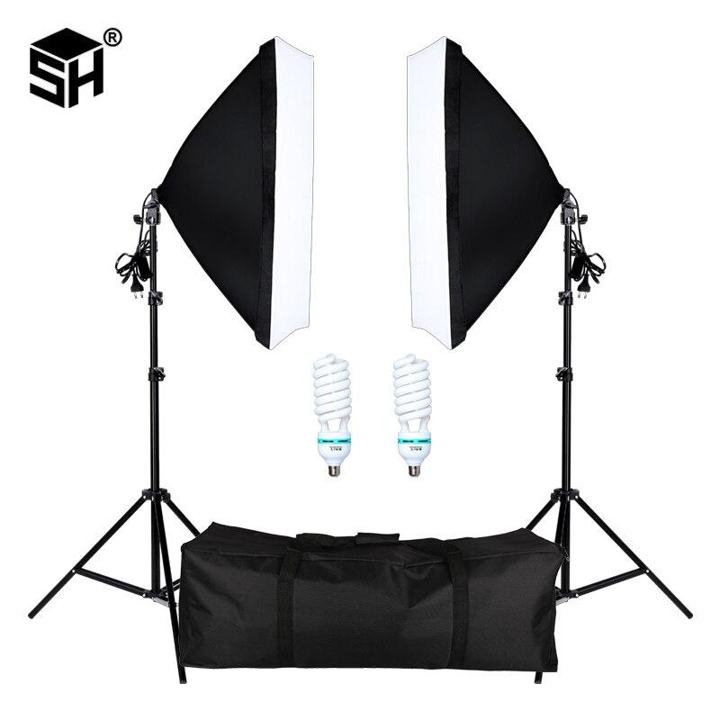 Softbox Light-Lighting-Kit Photo-Studio Video-Shooting E27-Socket Professional Photography