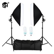 사진 스튜디오 초상화, 사진 및 비디오 촬영을위한 E27 소켓 조명 조명 키트가있는 전문 사진 소프트 박스