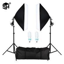 Profesyonel fotoğraf çantası ile E27 soket işık aydınlatma kiti fotoğraf stüdyosu için portreler, fotoğraf ve Video çekimi