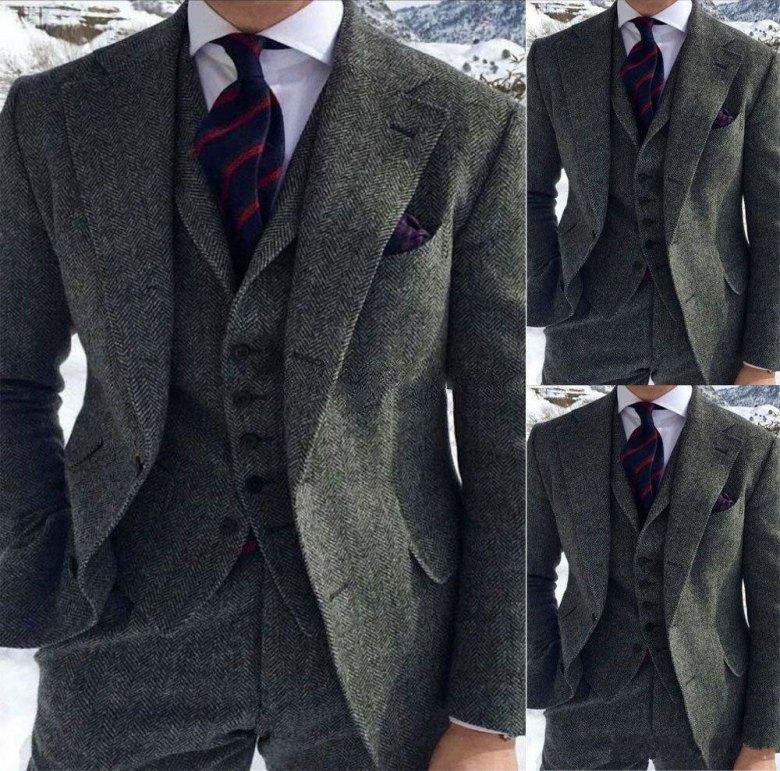 High Quality Two Buttons Tweed Wedding Groom Tuxedos Notch Lapel Groomsmen Men Formal Prom Suits (Jacket+Pants+Vest+Tie)