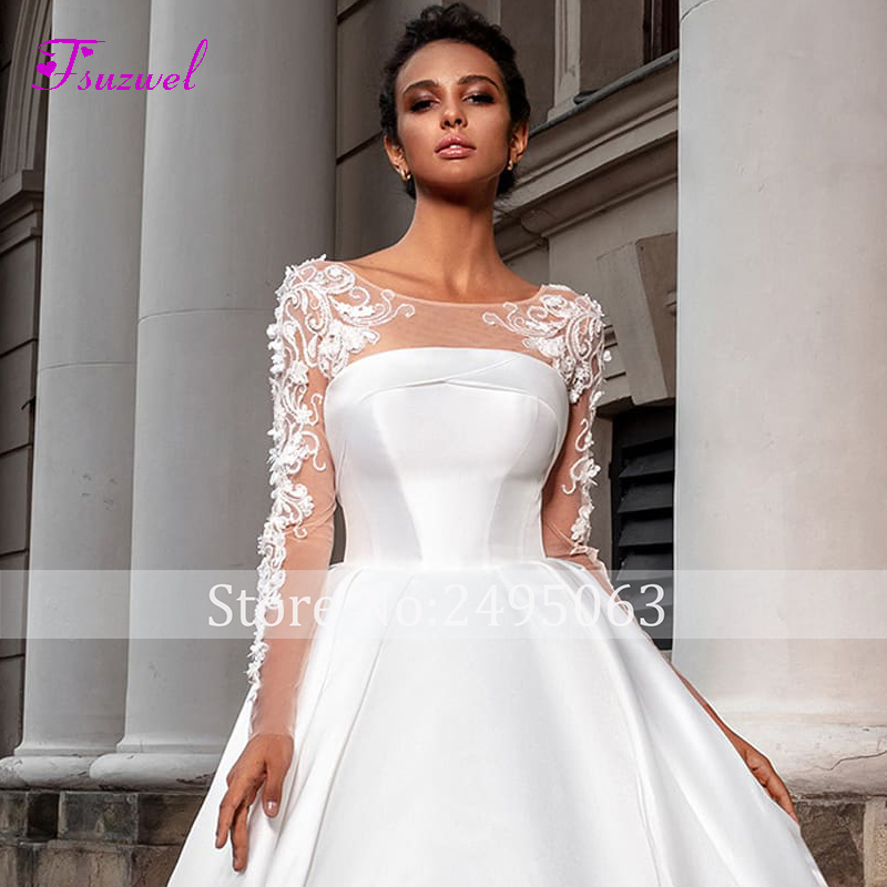 Image 5 - Fsuzwel Romantic Scoop Neck Long Sleeve A Line Wedding Dress 2020 Luxury Beaded Appliques Satin Court Train Vintage Bridal GownWedding Dresses   -