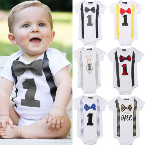 Dropshipping Baby Boy Handsome Bodysuits Rompers First 1st Birthday Party Gentleman Bow Romper Jumpsuit Outfits