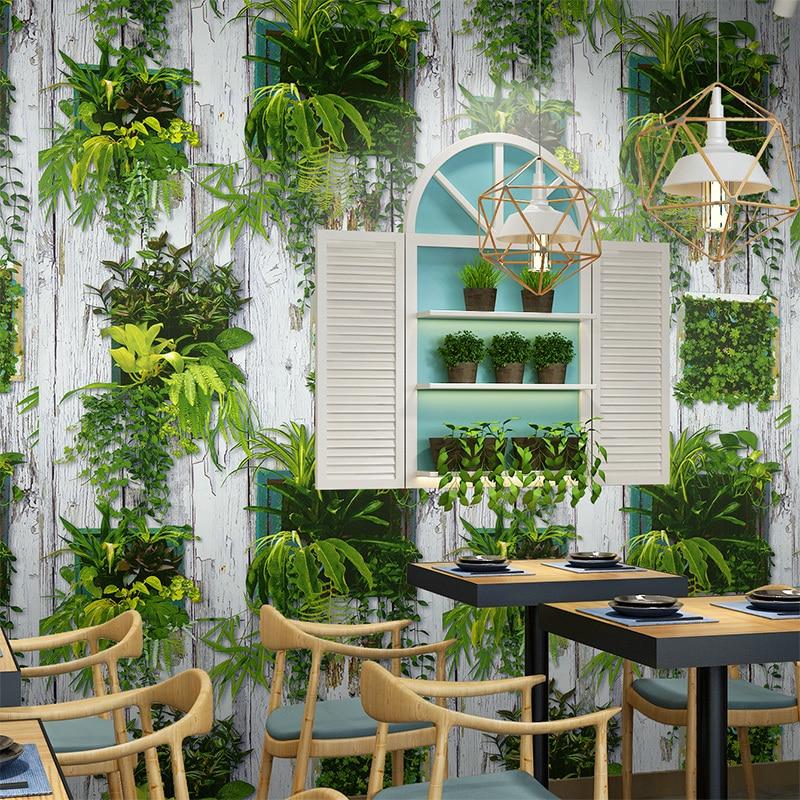Rural rustique bois planche papiers muraux décor à la maison Vintage bonsaï vert plante papier peint pour magasin salle à manger murs décoration