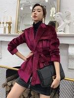 2020 Women Velvet Jacket Fashion Korean Style Short Harajuku Outerwear Suit Collar Bandage Casual Work Bomber Jacket Coat f2886