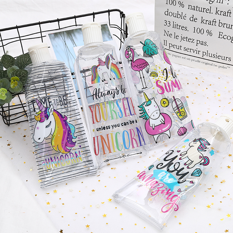 Unicorn Zipper Transparent Pencil Case PU Material Toothpaste Pencil Case With A Pencil Sharpener Cute Stationery Pouch Supplies