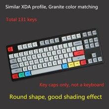 131 clés/ensemble granit PBT colorant sous-lit clés casquettes pour MX commutateur mécanique clavier XDA profil rétro gris blanc Keycap 1.5mm