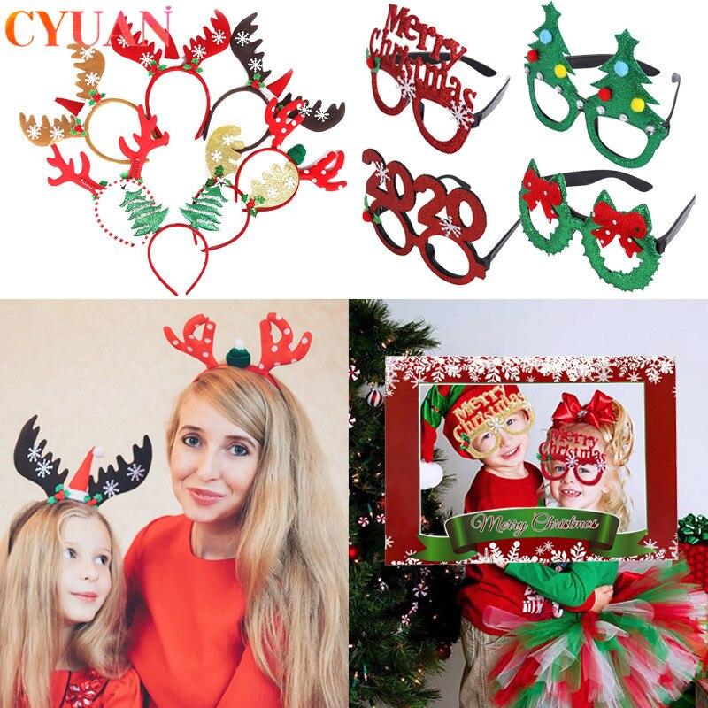 Christmas Ornaments Christmas Party Supplies Navidad 2020 Glasses Christmas Headband Photo Frame Props Kids Christmas Gifts