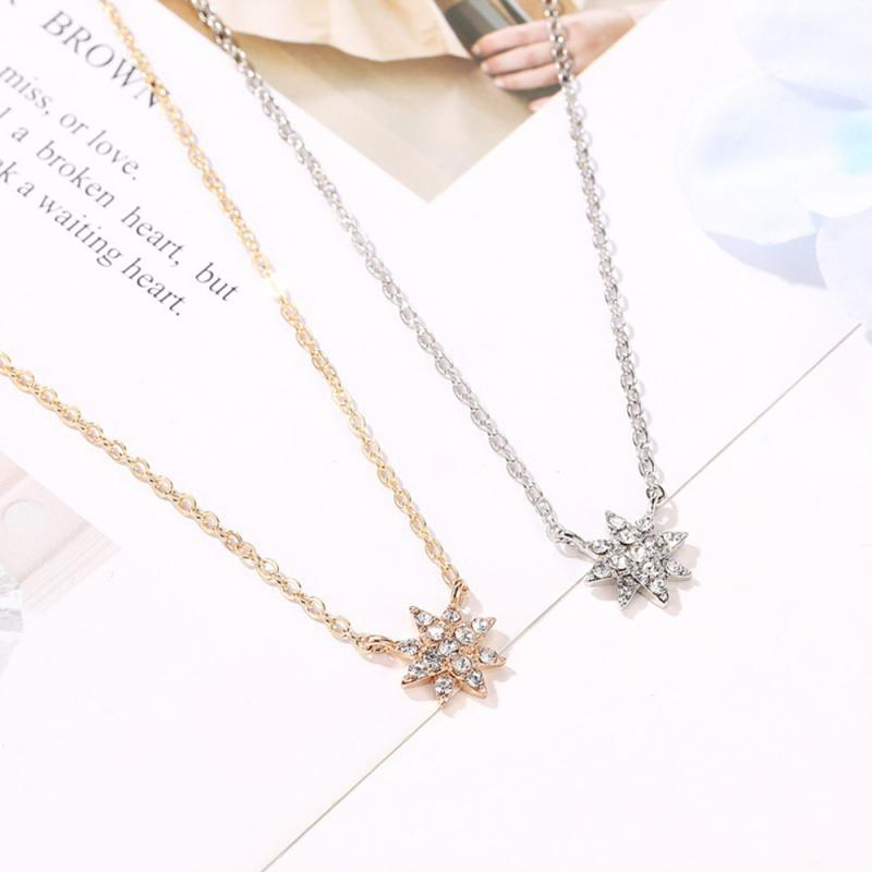 European And American Style Fashion Necklace Temperament Sun Flower Ladies Clavicle Chain Popular Classic Star-strand Necklace