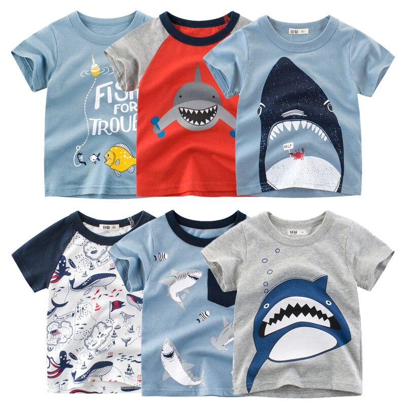 Boys Cartoon Shark Print T-shirts Kids Clothes T Shirt for Boy Children Summer Short Sleeve Cotton Tops Clothing Dropshipping