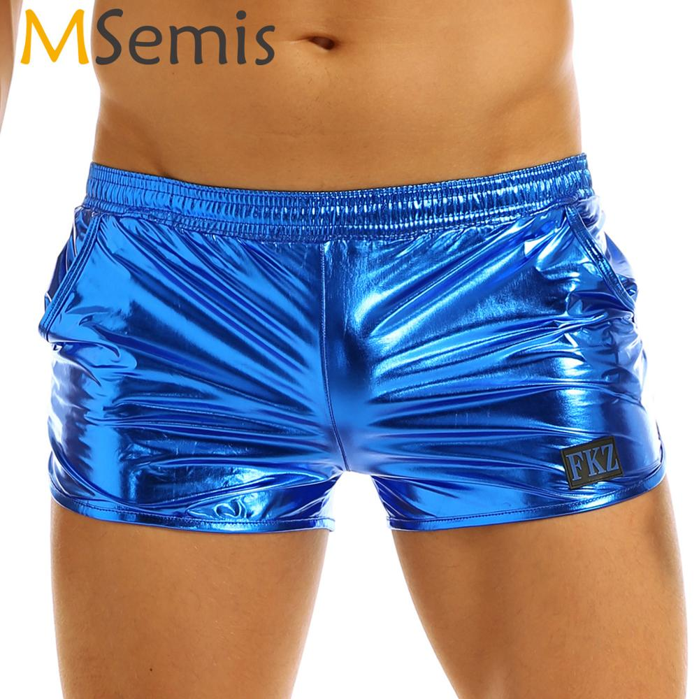 Mens Shiny Metallic Boxer Shorts Low Rise Stage Performance Clubwear Costume Males Shorts Trunks Underpants Bottoms Cueca Homme