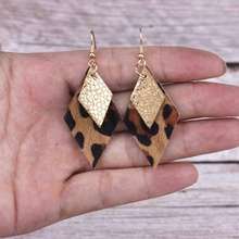 ZWPON Gold Silver Layered Genuine Leather Rhombus Earrings for Women Geometric Metallic Jewelry Wholesale