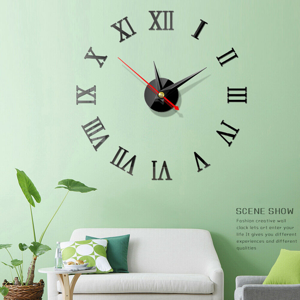 Wall Clock Watch Large Modern Simple DIY Sticker Decal 3D Roman Numeral Home Decor