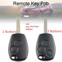 433Mhz 2 / 3 Buttons Car Remote Key with PCF7947 Chip and VA2 Blade Fit for Renault  / Clio / Scenic /  Kangoo / Megane other 433mhz 2 buttons remote car key with pcf7946 chip and ne73 blade fit for renault new