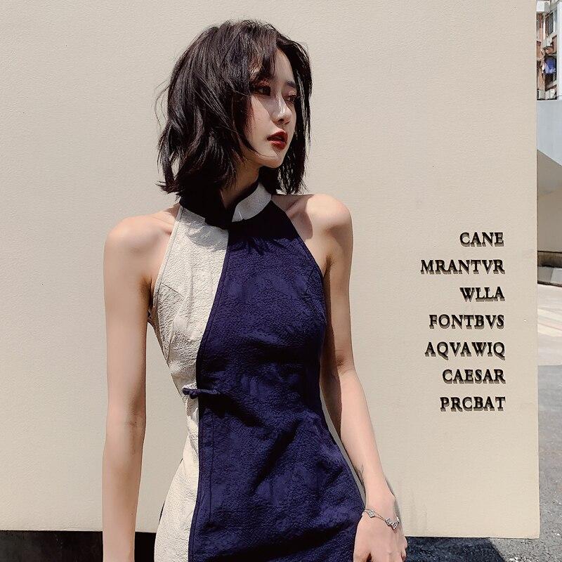 2020 Chinese Dress Satin Women's Sleeveless Sexy Qipao Dress Chinese Style Mandarin Collar Formal Short Flower Cheongsam