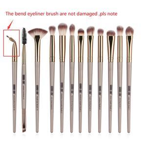 Image 5 - Ensemble de pinceaux à maquillage, pinceaux pour ombre à paupières, Eyeliner pour cils, mélange, 12 pièces/lot