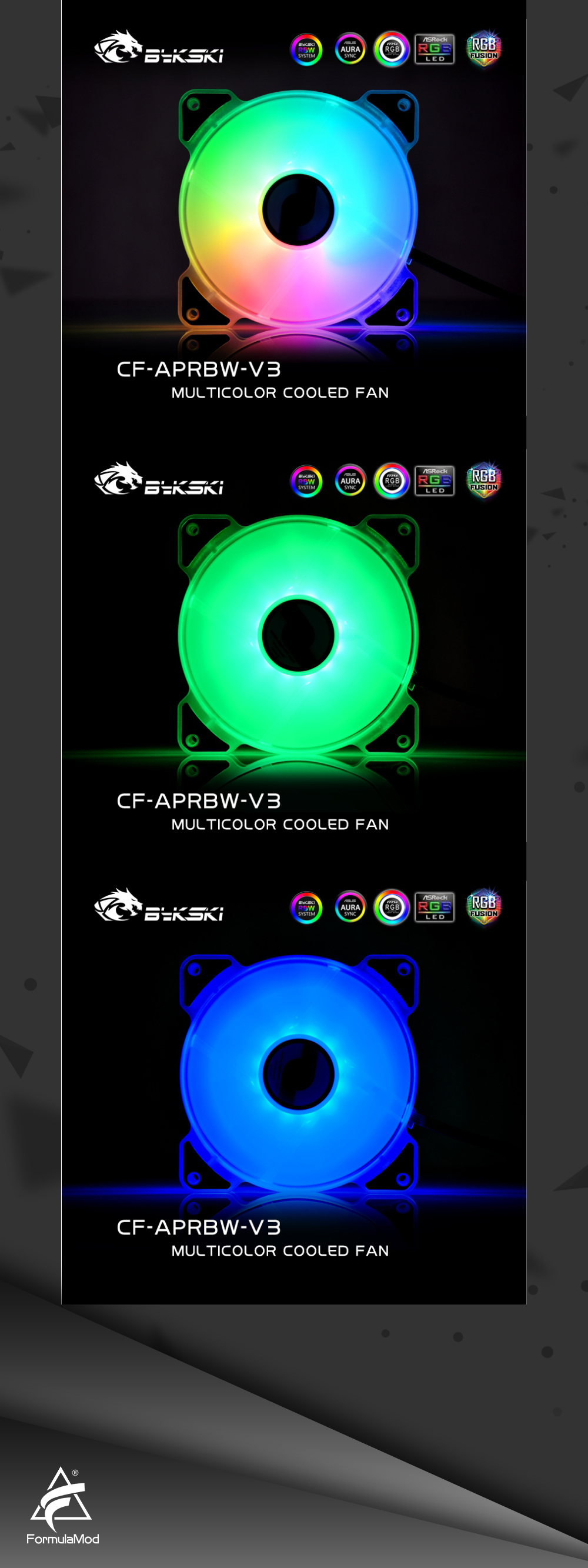 Bykski ARGB 5v Computer Fan 120mm Mute Water Cooling Fan For PC Case 120/240/480 Radiator Colorful Cooler For PC Cooling CF-APRBW-V3