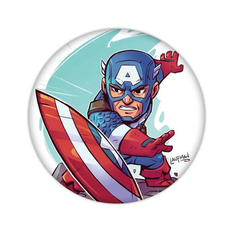 1 pcs bonito dos desenhos animados marvel herói ícone broche de plástico para crianças presentes de festa novo design emblema vingadores homem aranha homem de ferro pino