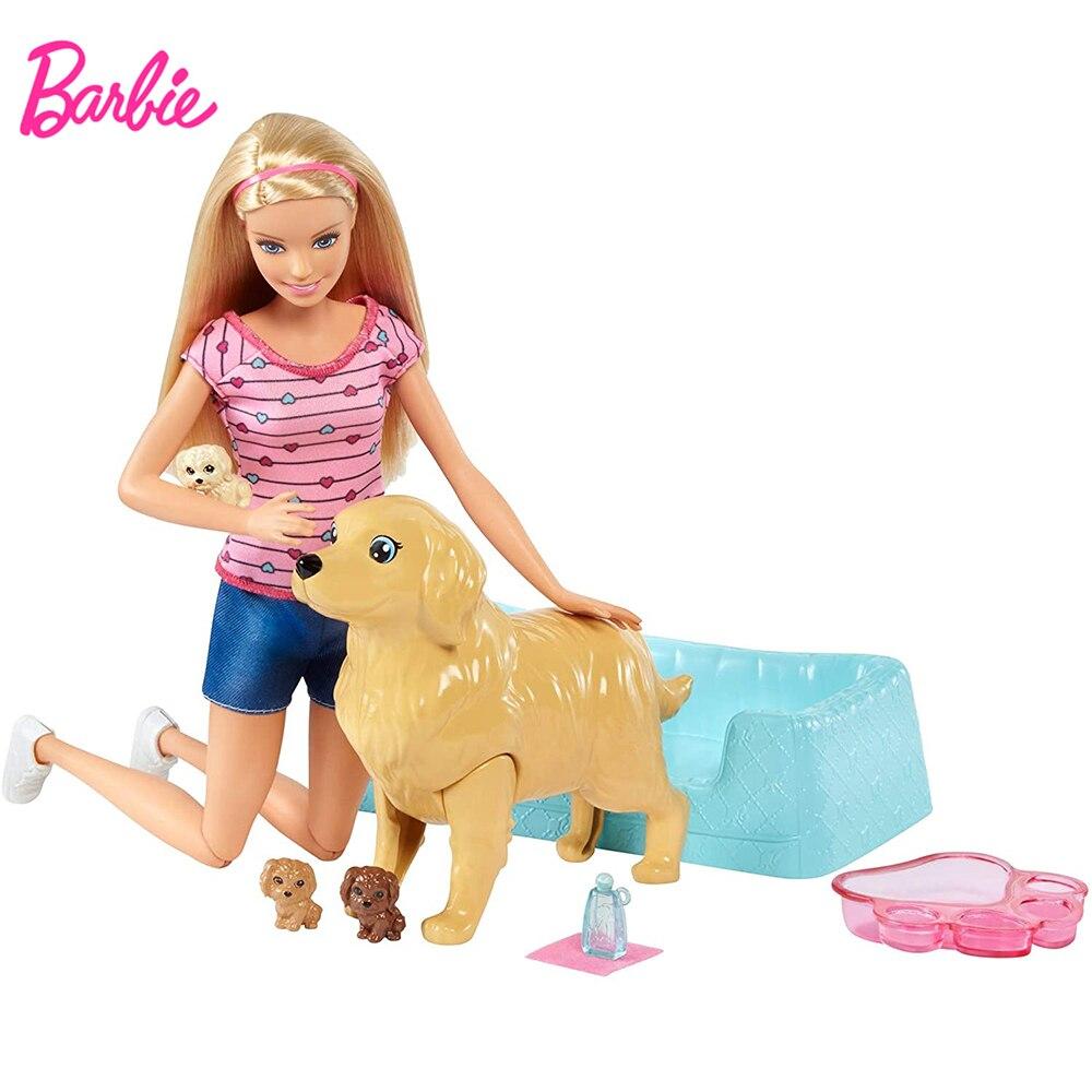 Barbie Hund Pflege Combo Neugeborenen Welpen Puppe & Haustiere 3 Welpen Hund Kinder Spielzeug Hund Pflege Spielzeug Set Mädchen Puppe spielzeug Weihnachten Geschenk FDD43