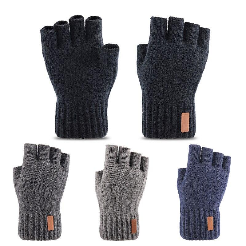 Вязаные перчатки без пальцев зимние плотные теплые перчатки с сенсорным экраном унисекс уличные эластичные теплые перчатки для езды на вел...