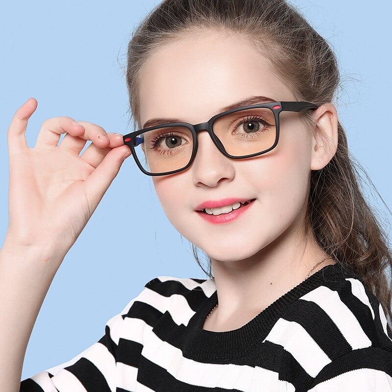 JULI Blue Light Blocking Glasses Kids Fashion Flexible TR90 Frame Plain Computer Gaming Glasses Children Eyewear Girl 6601