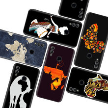 Africa Map Geography Painted Black Case for Huawei Y9 Y5 Y6 Y7 2019 Honor 10 9 Lite 9X 8X 8S 8A 7S 7A 10i 20i V20 Phone Coque Ca(China)