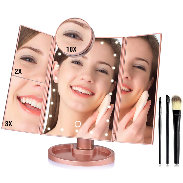 1x 2x 3x 10x Magnifying Makeup Mirror Fashion 22 Lights Touch Screen Desktop Folding Cosmetic Vanity Mirror with LED lights