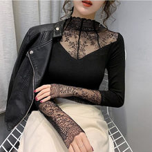 Women Elegant Lace T shirt Female Sexy Mesh Long Sleeve Shirt Patchwork Fashion Floral Embroidery Hollow Out Tops