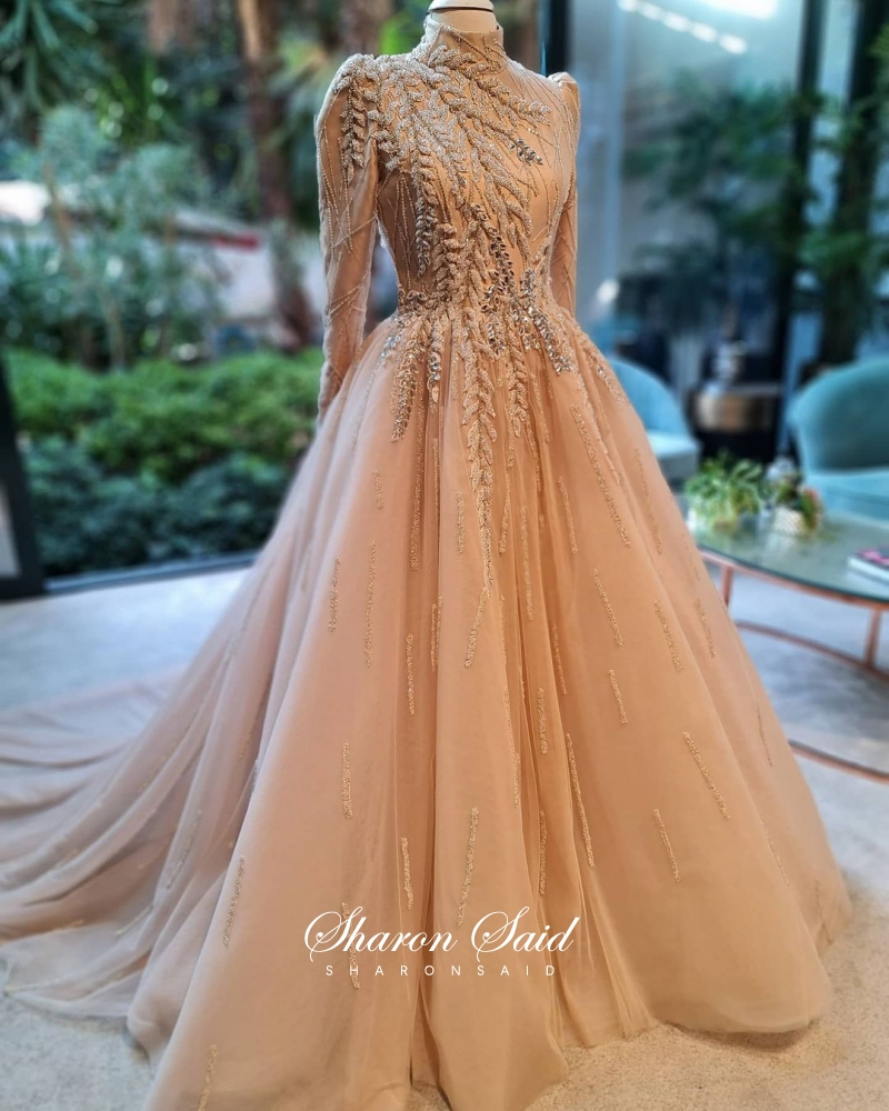 Luxury Dubai Champgane Muslim Evening Dress Long Sleeve High Neck Elegant Women Arabic Formal Dresses for Wedding Party Gowns