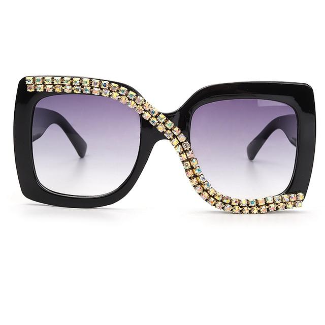 Diamond Square Sunglasses Women 2020 Luxury Vintage Oversized Sunglasses Unique One Piece Rhinestone Glasses Shades gafas de sol 6