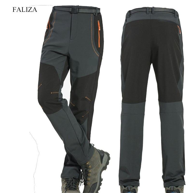 FALIZA 5XL мужские зимние штаны теплые флисовые внутренние водонепроницаемые дышащие флисовые брюки Стрейчевые повседневные мужские брюки-кар...
