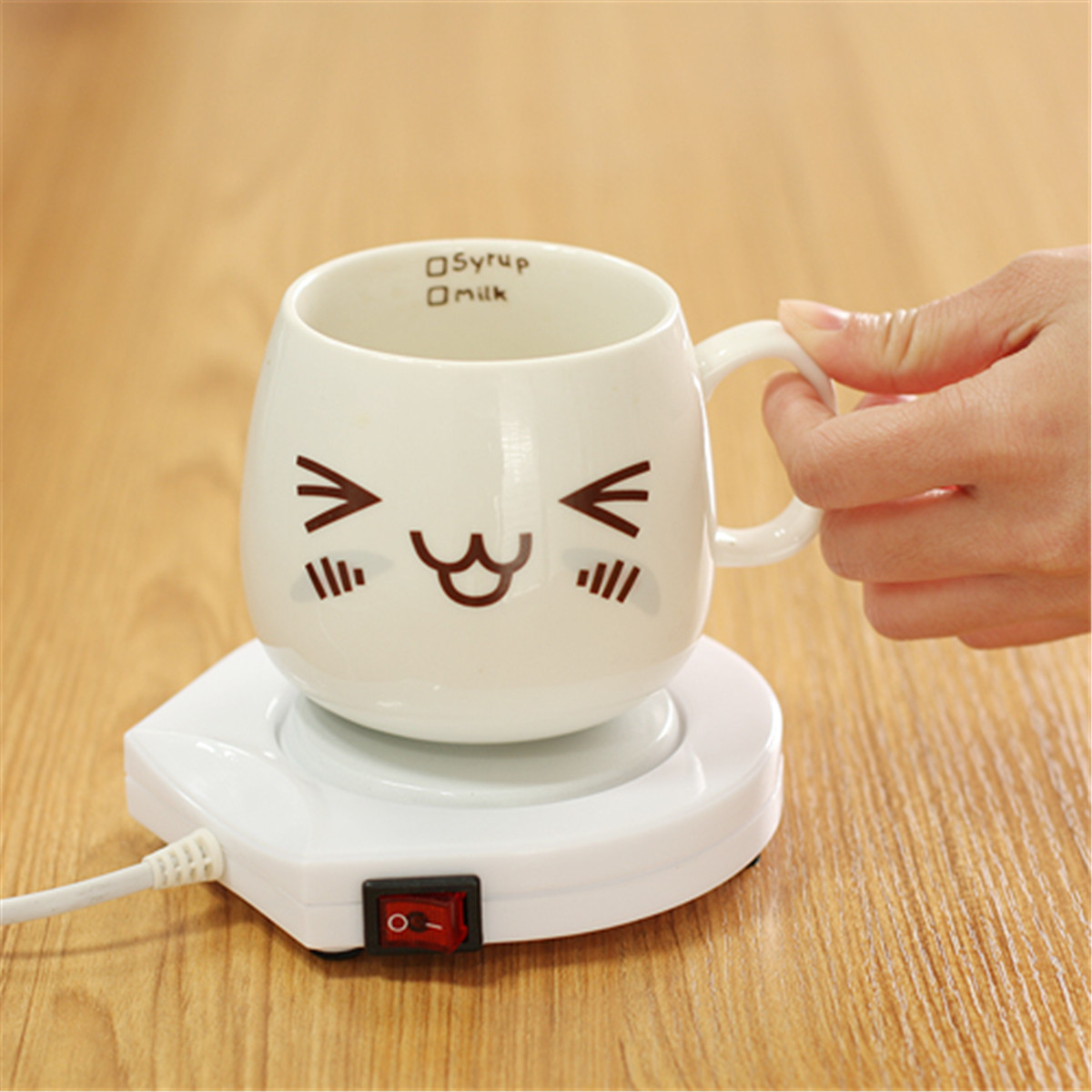 Warmer Heater Pad Electric Powered 220V White Electric Powered Cup Warmer Heater Pad Coffee Tea Milk Mug Office Kitchen House image