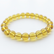 Explosion Hot Sale Handmade Yellow Crystal Stone Bracelet Stretch 8mm Bead Elastic Accessories Women Mens Jewelry