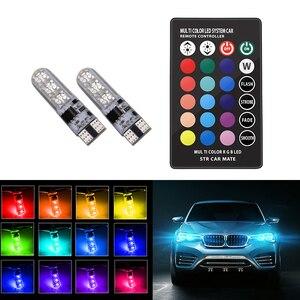 Автомобильный RGB светодиодный 12V T10 светодиодный RGB 5050 SMD сигнальная лампа для чтения клиновидный светильник для салона автомобиля декоратив...