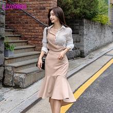 2019 new women's color matching versatile top + high waist hip skirt set Turn-down Collar  Regular  Button Fly
