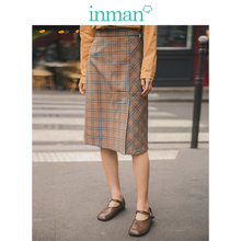 INMAN 2019 Autumn New Arrival Viscose Blending High Waist Slim Elegant Plaid Women Long Skirt