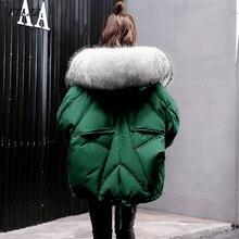 2019 FTLZZ 新冬ダウンジャケット女性大自然毛皮の襟フード付きブスモールコートグリーンブラックパーカー女性暖かい雪オーバーコート