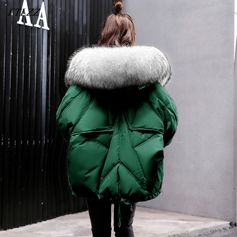 FTLZZ 2019 New Winter Down Jackets Women Large Natural Fur Collar Hooded Down Coat Green Black Parkas Female Warm Snow Overcoat