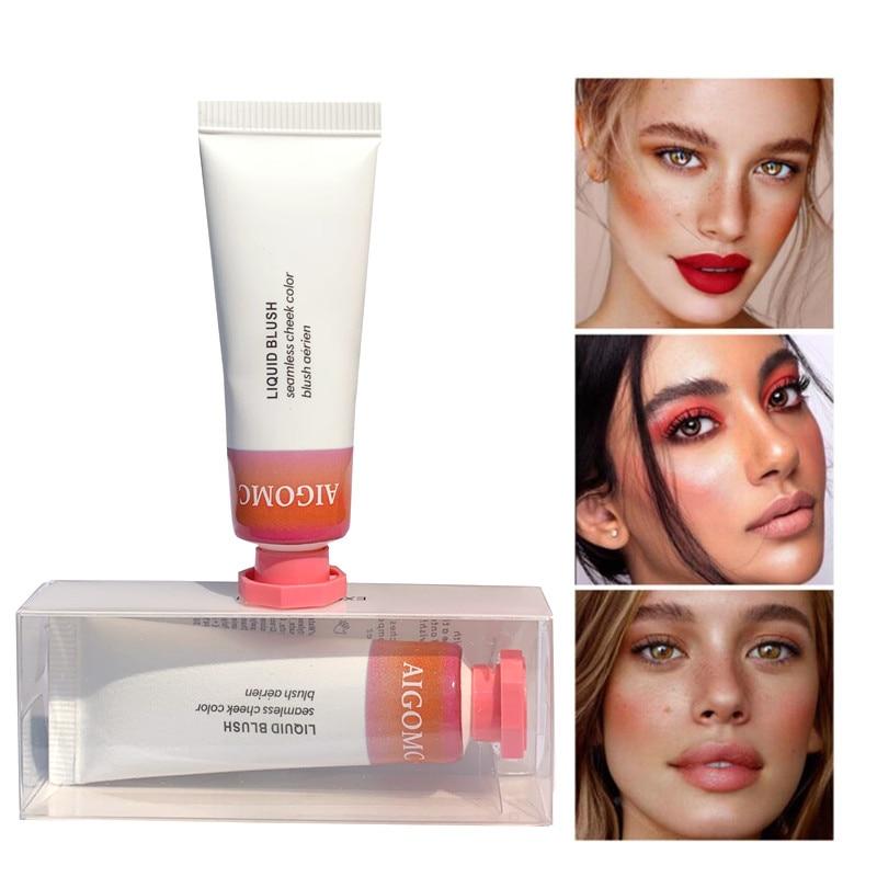 AIGOMC New Makeup Blush Liquid Woman's Fashion Pink Decoration Blusher Matte Nude Makeup Repair Blush Rouge Beauty Products