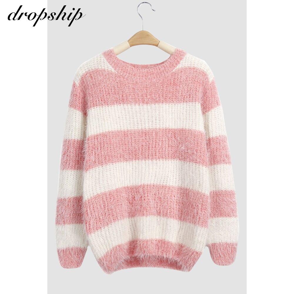 O Neck Striped Print Sweater Women Autumn Winter Knitted Jumper Pullover Women Slim Soft Jumper Sweater Female Knit Tops